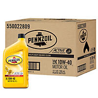 Pennzoil 10W-40 Motor Oil - 1 Quart Bottles - 12 Pack