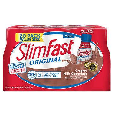 SlimFast Creamy Milk Chocolate Shake (10 fl. oz. bottles, 20 ct.)