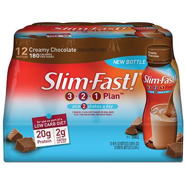 Slim-Fast Low Carb Chocolate Shake - 12/10 fl. oz. bottles