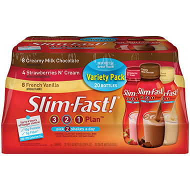 Slim-Fast® 3-2-1 Plan™ Shakes Variety Pack - 10 fl. oz. - 20 ct.