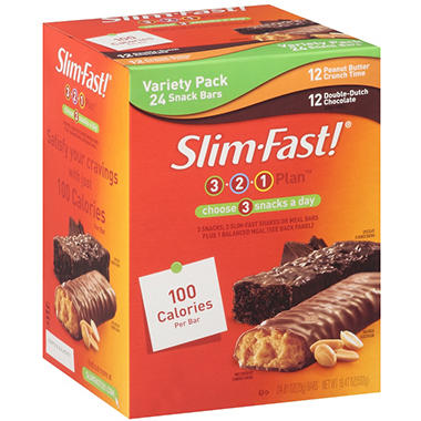 Slim-Fast!® 3-2-1 Plan™ Variety Pack Snack Bars - 24 ct.