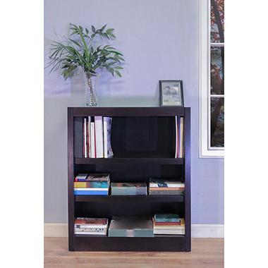 A. Joffe - E Single Wide Bookcase - Espresso Finish - 3 Shelves