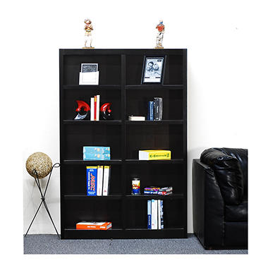 A. Joffe 10-Shelf Double Wide Bookcase, Espresso