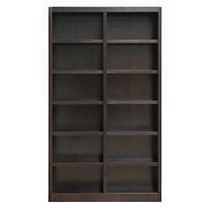 A. Joffe MI4884-E Double Wide Bookcase - Espresso Finish - 12 Shelves