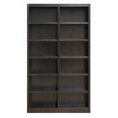 A. Joffe 12-Shelf Double Wide Bookcase, Espresso