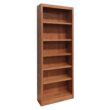 A. Joffe - MI3084-D Single Wide Bookcase - Dry Oak Finish - 6 Shelves