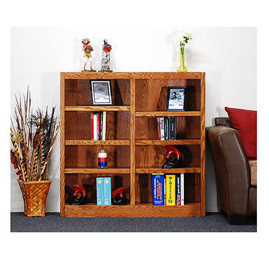A. Joffe - MI4848-D Double Wide Bookcase - Dry Oak Finish - 8 Shelves