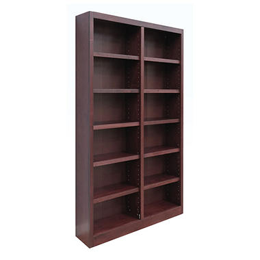 A. Joffe - MI4884-C Double Wide Bookcase - Cherry Finish - 12 Shelves