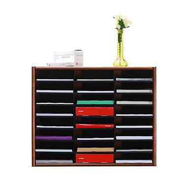 A. Joffe - 24 Compartment Literature Organizer - Dry Oak Finish