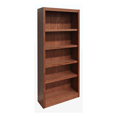A. Joffe MI3072-D Single Wide Bookcase - Dry Oak Finish - 5 Shelves