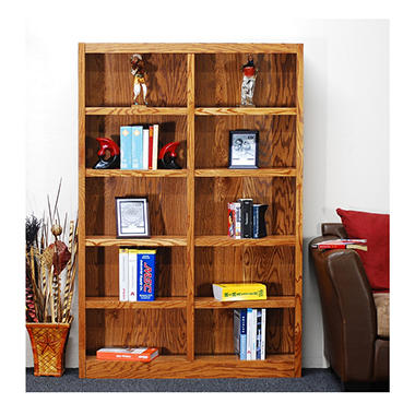 A. Joffe MI4872-D Double Wide Bookcase - Dry Oak Finish - 10 Shelves