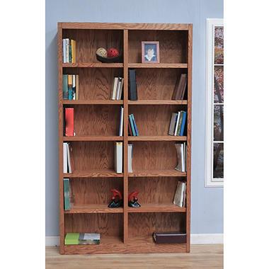 A. Joffe - Double Wide Bookcase - Dry Oak Finish - 12 Shelves