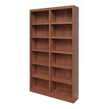 A. Joffe - MI4884-D Double Wide Bookcase - Dry Oak Finish - 12 Shelves