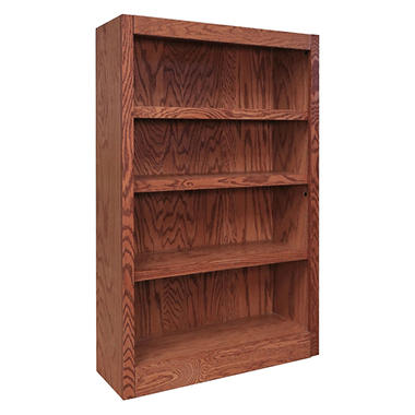 A. Joffe 4-Shelf Single Wide Bookcase, Dry Oak