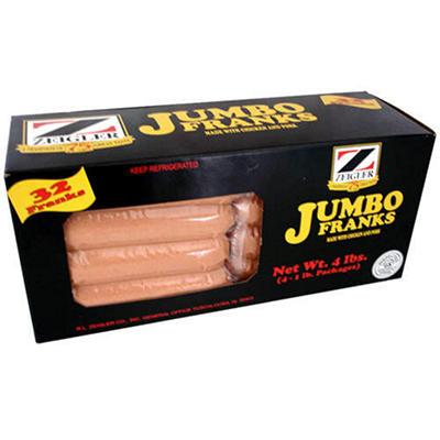 Zeigler Jumbo Franks 1lb. - 4 pks.