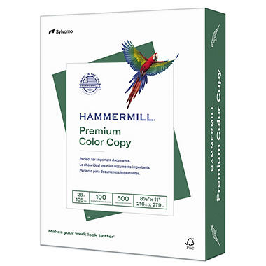 Hammermill - Copier Paper, 100 Brightness, 28lb, 8 1/2 x 11, Photo White -  500/Ream
