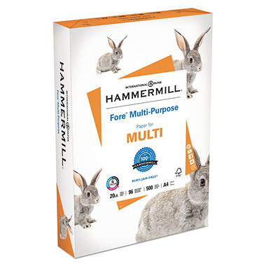 "Hammermill - Fore Multipurpose Paper, 20lb, 96 Bright, (A4) 8-3/8 x 11-3/4"" - Ream"