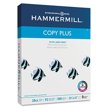 Hammermill - Copy Plus Copy Paper, 20lb, 92 Bright, 8-1/2 x 11