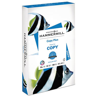 Hammermill - Copy Plus Copy Paper, 20lb, 92 Bright,  8-1/2 x 14