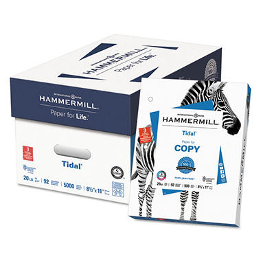 Hammermill - Tidal MP Copy Paper, 20lb, 92 Bright, 3 Hole Punched - Case