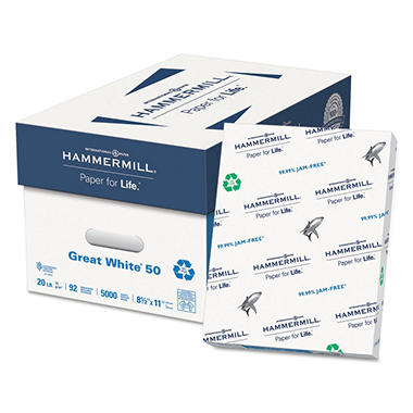 Hammermill - Great White 50% Recycled Copy Paper, 20lb, 92 Bright, 8-1/2 x 11
