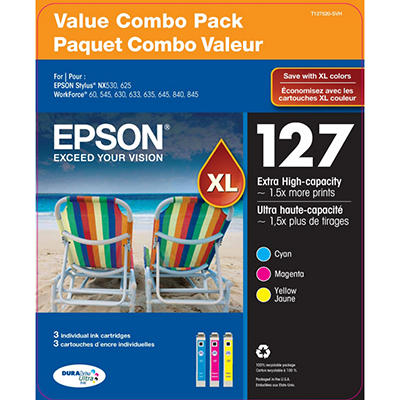 Epson DuraBrite 127XL Ink Cartridges, Color Multi-pack