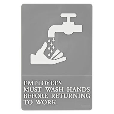 "ADA Sign, ""Employees Must Wash Hands..."""
