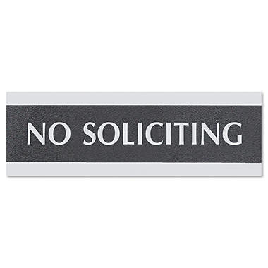 "Headline Sign Century Series Office Sign - ""No Soliciting"" - Black/Silver"