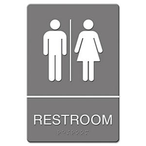 Headline Sign - ADA Sign, Restroom Symbol Tactile Graphic, Molded Plastic, 6 x 9 -  Gray