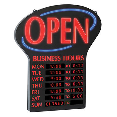 NEWON LED Open Sign with Digital Business Hours, 20.4