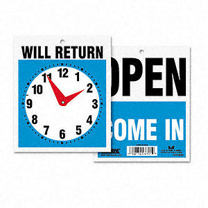 Headline Double-Sided Open/Will Return Sign w/Clock Hands