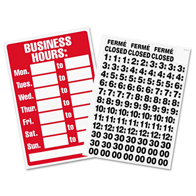 Headline Business Hours Sign w/Vinyl Characters, Poly Resin, 8 x 12, Red/White