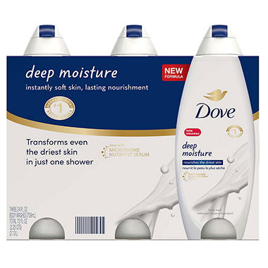 Dove Nourishing Body Wash, 3 - 24 oz. bottles - Deep Moisture or Sensitive Skin