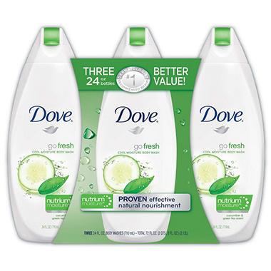 Dove Go Fresh Body Wash, Cool Moisture - 24 fl. - 3 pk.