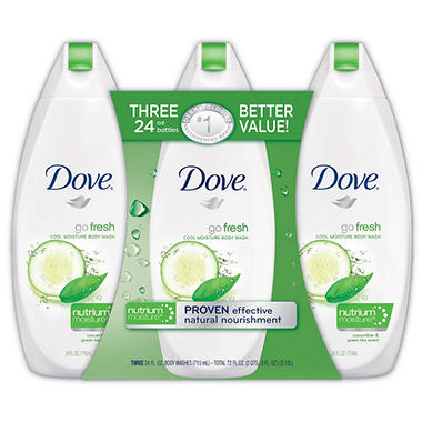 Dove Go Fresh Body Wash, Cool Moisture – 24 fl. - 3 pk.
