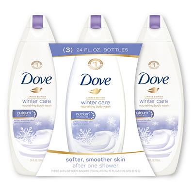 Dove Gentle Exfoliating Body Wash, Gentle Exfoliating/Winter Care, 24 oz. - 3 pk. bottles