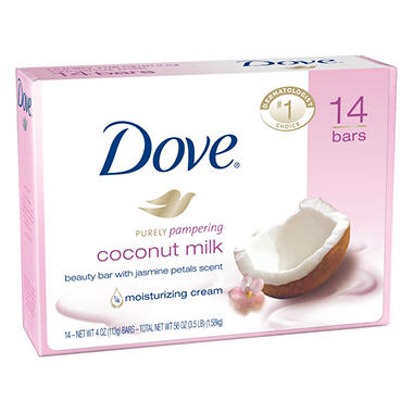Dove Purely Pampering Beauty Bar, Coconut Milk,  (4 oz.,14 bars)