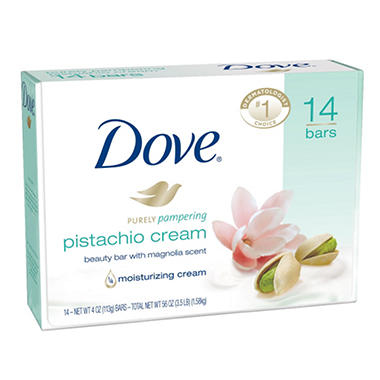 Dove Beauty Bar, Pistachio Cream (4 oz., 14 bars)