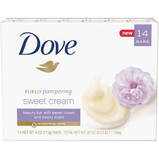 Dove Purely Pampering Beauty Bar, Sweet Cream and Peony (4 oz., 14 ct.)