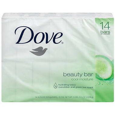 Dove Beauty Bar, Go Fresh Cool Moisture - 4 oz. - 14 bars