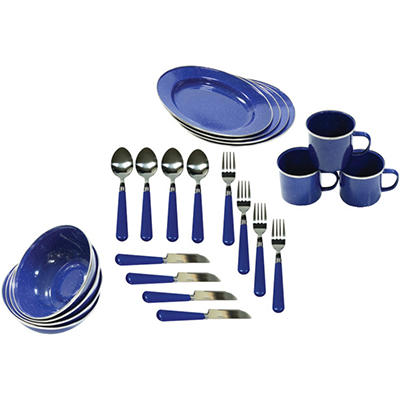 Stansport Enamel Camping Tableware Set (24 pc. set)