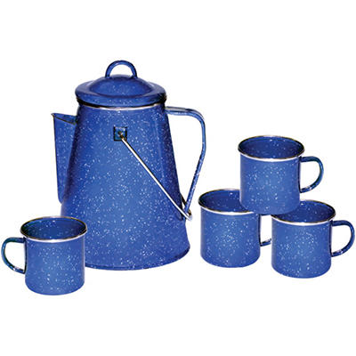 Stansport Enamel 8-Cup Coffee Pot w/ Percolator & 4 Mugs