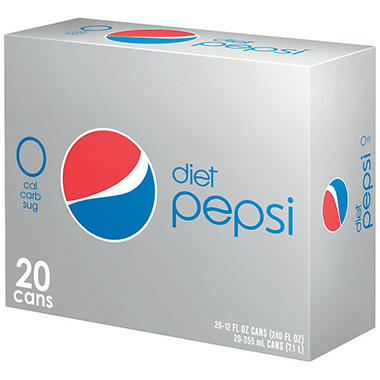 Diet Pepsi - 12 oz. Cans - 20 ct.