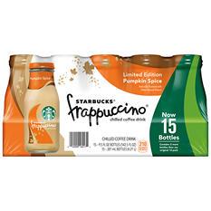 Starbucks Frappuccino Coffee Drink, Pumpkin Spice (9.5 oz. bottles, 15 pk.)