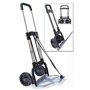 Stebco - Portable Slide-Flat Cart, 275lbs, 18 3/4 x 19 x 40, Black/Chrome