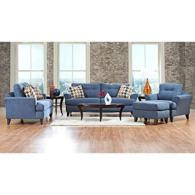 Prestige Carmen Sofa, Loveseat, Chair and Ottoman Collection - Blue