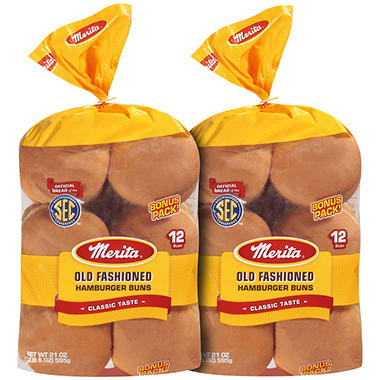 Merita� Old Fashioned Hamburger Buns - 2/12 ct.
