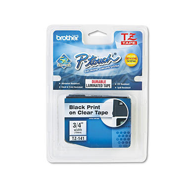 "Brother P-Touch - TZe141 Label Tape, 3/4"", Black on Clear"