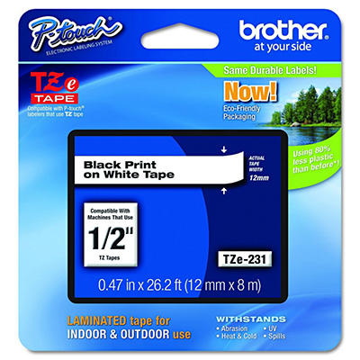 """Brother P-Touch - TZe231 Label Tape, 1/2"""", Black on White"""