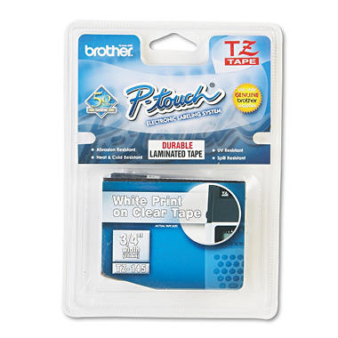 "Brother P-Touch - TZe145 Label Tape, 3/4"", White on Clear"